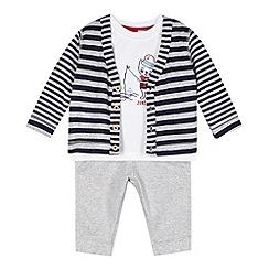 J by Jasper Conran - Designer babies white cardigan, t-shirt and bottoms set