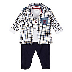 J by Jasper Conran - Designer boy's navy checked shirt, t-shirt and joggers set
