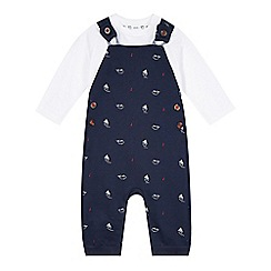 J by Jasper Conran - Designer babies navy nautical dungaree and long sleeved top set