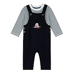 J by Jasper Conran - Babies navy ribbed dungarees and top set