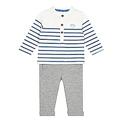 J by Jasper Conran - Designer babies white striped top and jogging bottoms set
