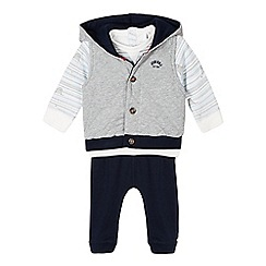 J by Jasper Conran - Babies white seal printed top, jacket and bottoms set