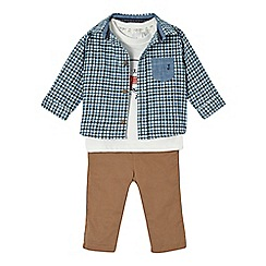 J by Jasper Conran - Babies navy checked bear shirt, t-shirt and chinos set