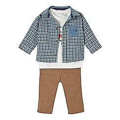 J by Jasper Conran - Babies navy checked bear shirt, t-shirt and chinos set