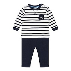 J by Jasper Conran - Designer babies navy striped top and cord bottoms set