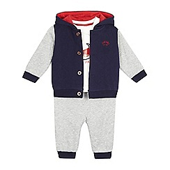 J by Jasper Conran - Baby boys' navy quilted jacket, t-shirt and bottoms set