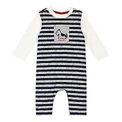 J by Jasper Conran - Baby boys' navy striped dungarees