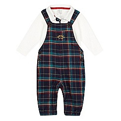 J by Jasper Conran - Baby boys' green check dungarees and polo shirt set