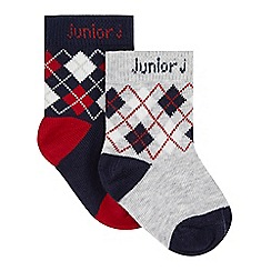J by Jasper Conran - Pack of two designer babies grey and red argyle socks