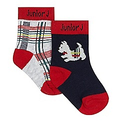 J by Jasper Conran - Pack of two baby boys' red tartan socks