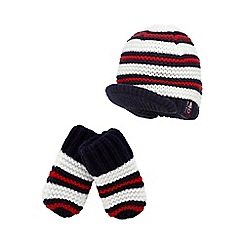 J by Jasper Conran - Baby boys' navy striped hat and mittens set