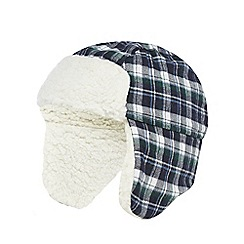 J by Jasper Conran - Baby boys' navy checked trapper hat