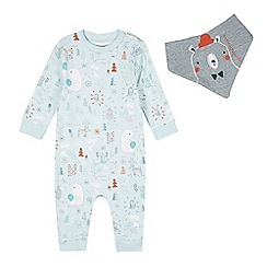 RJR.John Rocha - Designer babies pale green woodland print sleepsuit and bib set