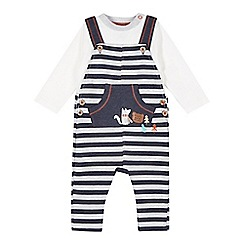 RJR.John Rocha - Designer babies grey striped dungarees and top set