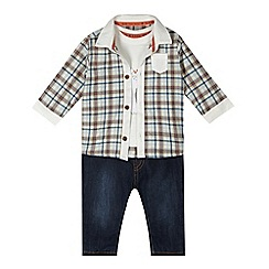 RJR.John Rocha - Designer babies white polar bear top, checked shirt and jeans set