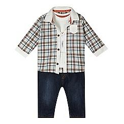 RJR.John Rocha - Designer babies white polar bear top, checked shirt and jeans set