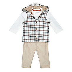 RJR.John Rocha - Baby boys' beige t-shirt, gilet and trousers set