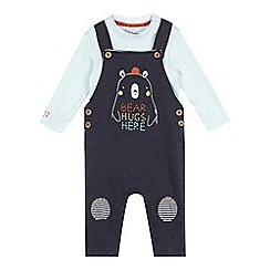 RJR.John Rocha - Babies navy bear and owl dungarees with bodysuit