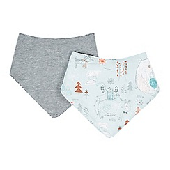 RJR.John Rocha - Pack of two designer babies pale blue woodland and striped dribble bibs