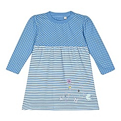 bluezoo - Babies blue spotted striped dress