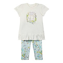 bluezoo - Girl's cream 'Happy Days' floral t-shirt and leggings set
