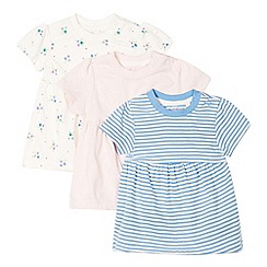 bluezoo - Pack of three babies pink, blue and white patterned t-shirts