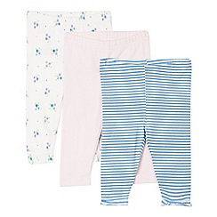 bluezoo - Pack of three babies pink, blue and white patterned leggings