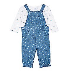 bluezoo - Babies blue chambray dungaree set
