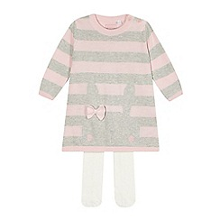 bluezoo - Babies pink striped knitted dress and tights