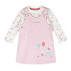 bluezoo - Babies pink pinafore and long sleeved floral top set