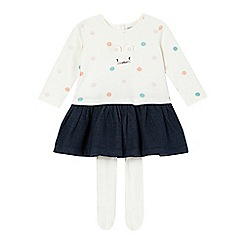 bluezoo - Girl's white spotted bunny dress