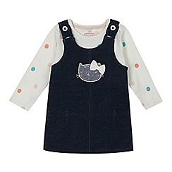 bluezoo - Girl's navy cat pinafore