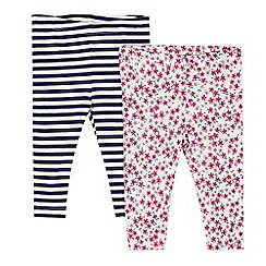 bluezoo - Pack of two babies pink floral and navy striped leggings