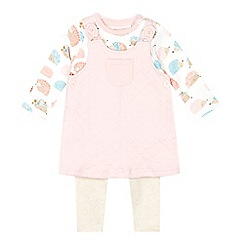 bluezoo - Babies light pink pinafore, hedgehog top and leggings set