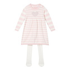 bluezoo - Babies pink knitted heart dress and tights