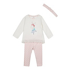 bluezoo - Babies cream bunny top, leggings and headband set