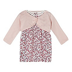 bluezoo - Babies pink floral dress and cardigan set