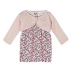 bluezoo - Babies pink floral dress and cardigan set