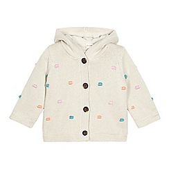 bluezoo - Babies beige hooded spotty knit cardigan