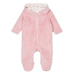bluezoo - Babies pink cat fleece all in one suit