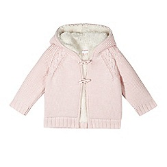 bluezoo - Babies pink fleece lined hooded cardigan