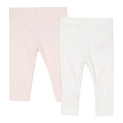bluezoo - Pack of two babies pink bunny and cream spotted leggings
