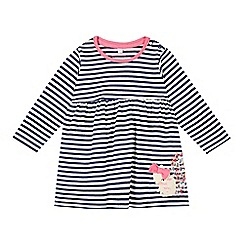 bluezoo - Girl's navy striped squirrel dress