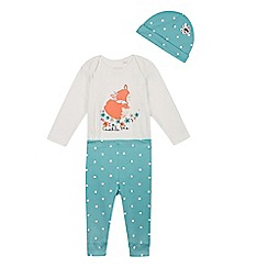 bluezoo - Babies green fox bodysuit, bottoms and hat set