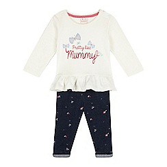 bluezoo - Baby girls' cream 'Pretty Like Mummy' top and floral leggings set
