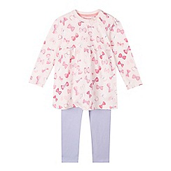 bluezoo - Baby girls' pink butterfly tunic and bottoms set