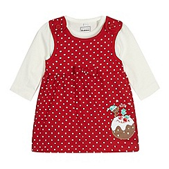 bluezoo - Baby girls' red spotted Christmas pudding pinafore set