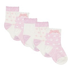 bluezoo - Pack of five girl's pink and cream polka dot socks