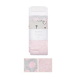 bluezoo - Pack of two babies pink bunny and grey spotted tights