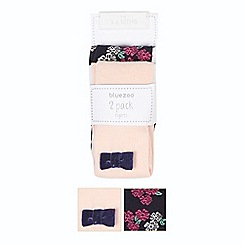 bluezoo - Pack of two babies pink and navy floral tights